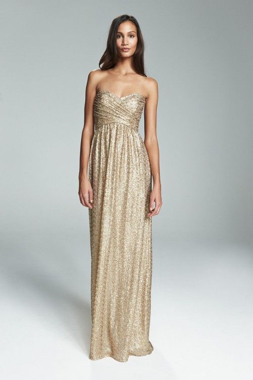 Strapless Gold Bridesmaid Dress