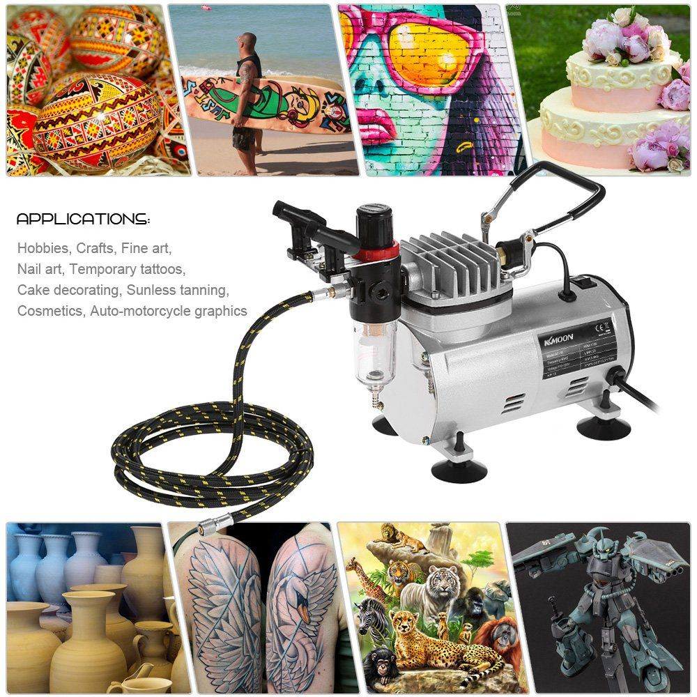 KKmoon Professional 3 Airbrush Kit With Air Compressor