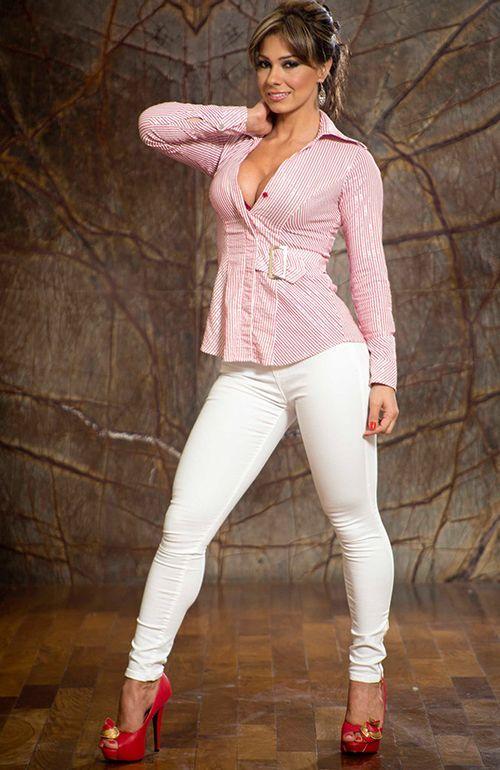 Womens Cream Jeans