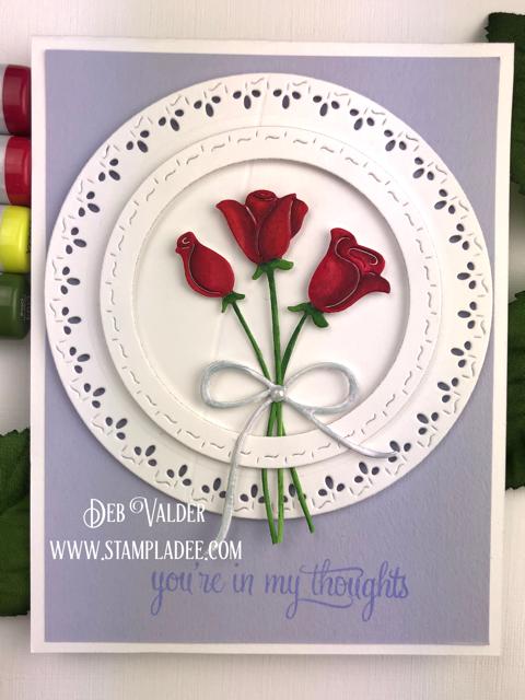 Paper Rose Dies-stitched Square Frames