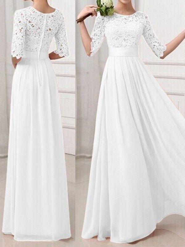 Photo of Vestido largo elegante con cuello redondo y manga larga de encaje blanco Vestido de noche Vestidos de dama de honor …