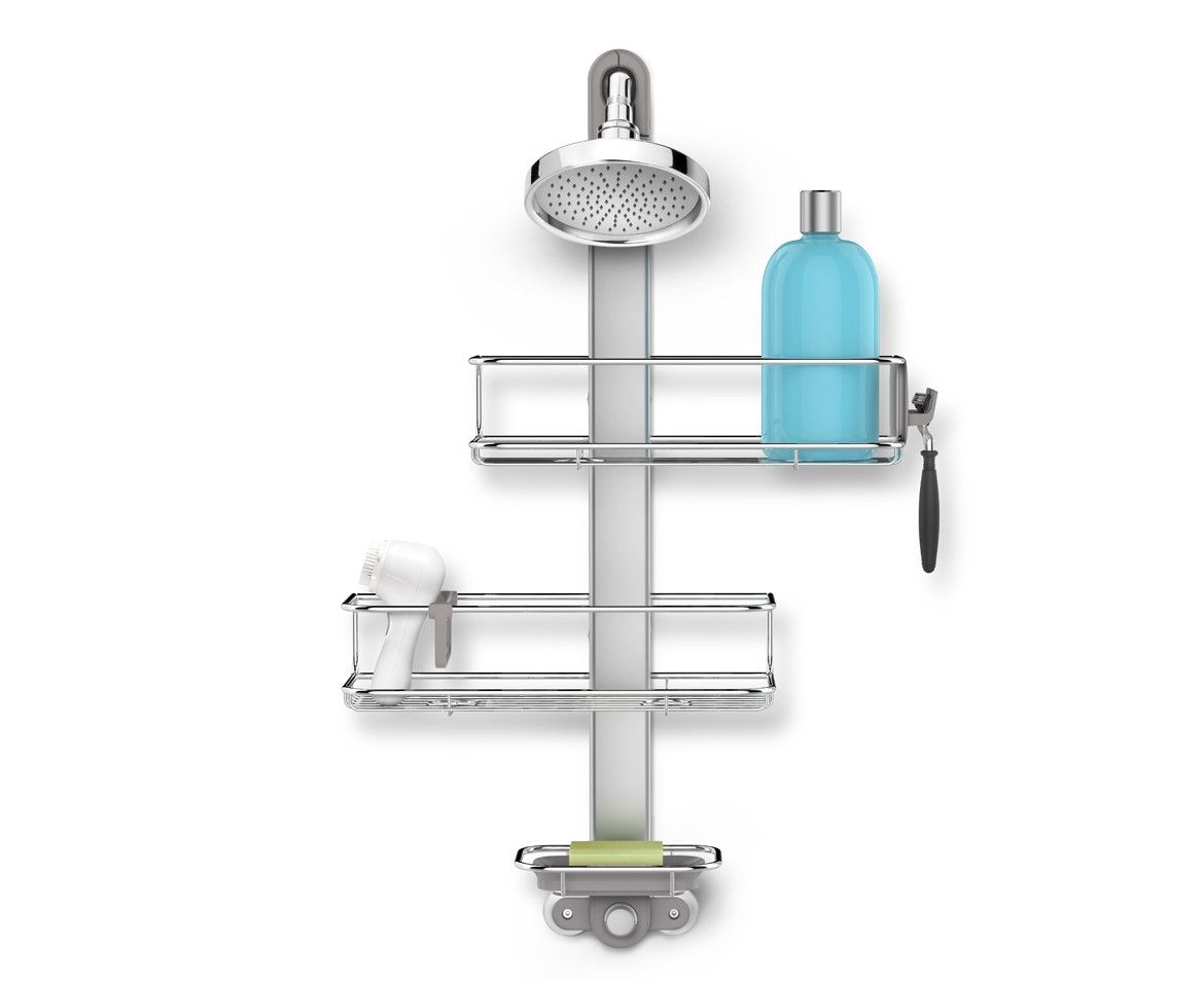 Adjustable shower caddy stainless steel + anodized aluminum ...