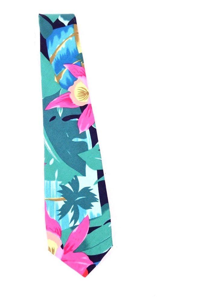 cb389a86a Hilo Hattie Hawaiian Tropical Print Neck Tie Bright Floral Made in Hawaii  #HiloHattie #Tie