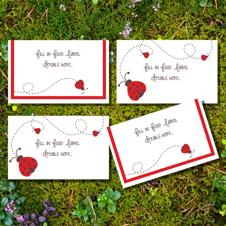 Ladybird Tent Cards Food Labels Buffet Cards by SunshineParties $5.00  sc 1 st  Pinterest & Ladybird Tent Cards Food Labels Buffet Cards by SunshineParties ...