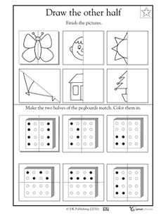 1st Grade 2nd Grade Math Worksheets Draw The Other Half Greatkids Visual Perception Activities Visual Perceptual Activities Visual Motor Activities