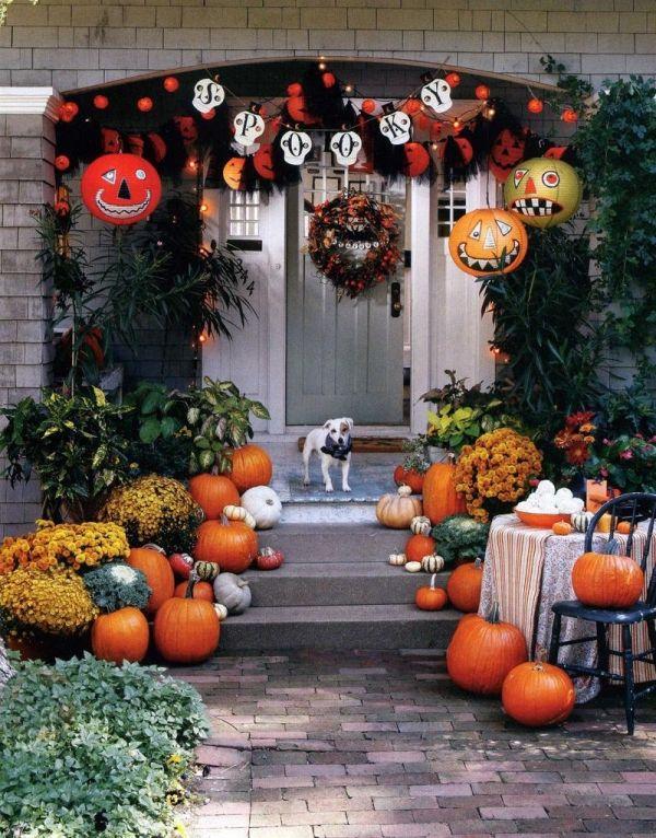 Herbst Helloween Deko Außen Hauseingang Kürbisse Helloween