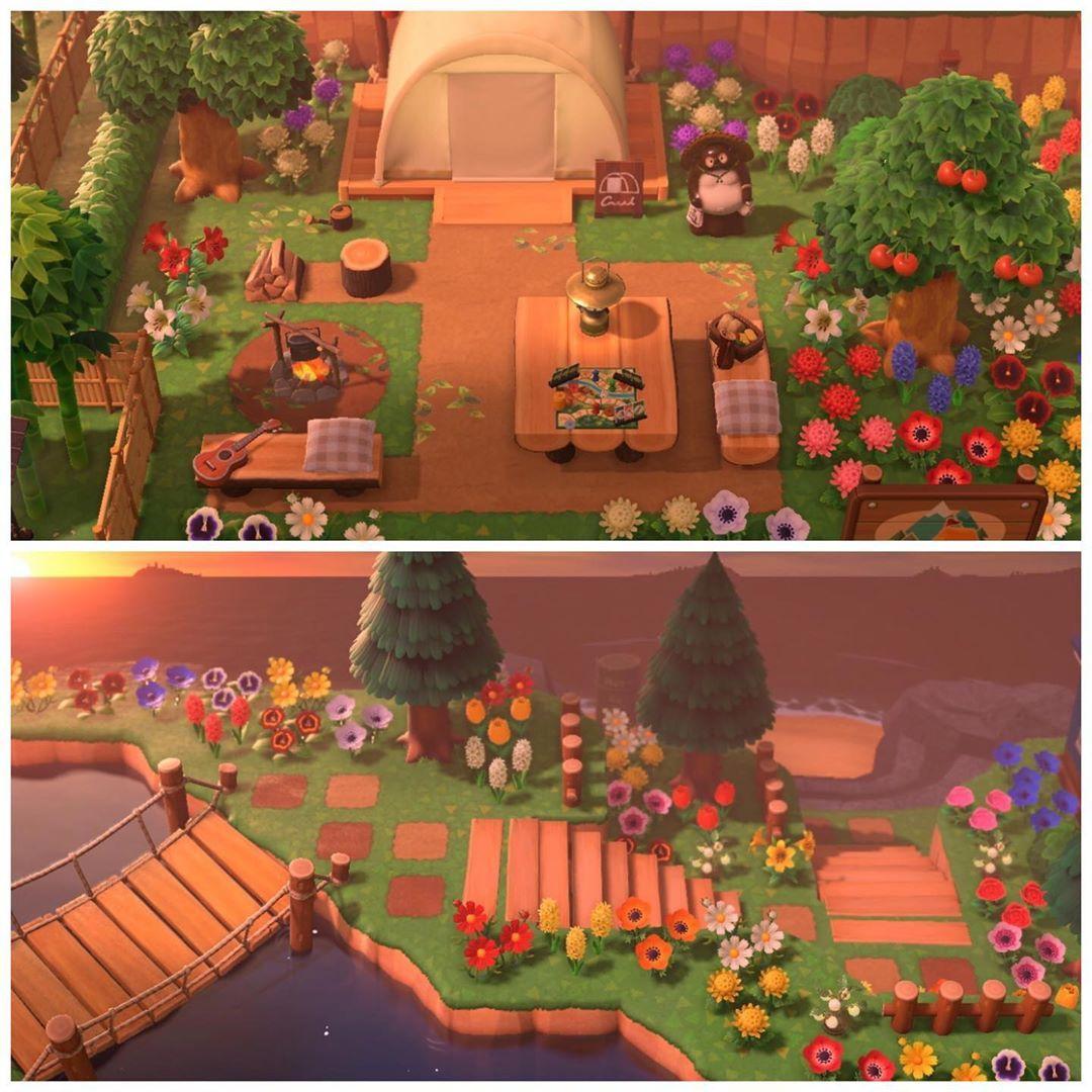 Aesthetics Layout Inspo On Instagram Campsite Design Credits To Eireenene On Twi Animal Crossing Animal Crossing Wild World Animal Crossing Cafe