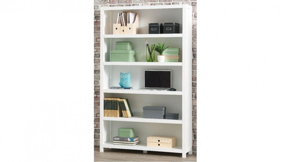 Aston 1200mm 5 Tier Bookcase White Home Office Furniture Outdoor Bbqs