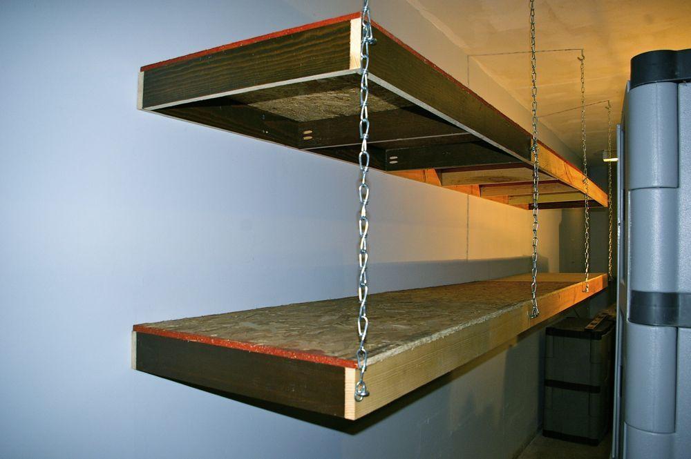 wood shelves hanging from ceiling   Garage shelving using ...
