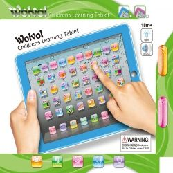 Wolvol Childrens Learning Tablet Blue Touch Screen Lights And Sound 50 Keys 9in 7in Great English Electronic Toys For Kids Kids Computer Learning Tablet