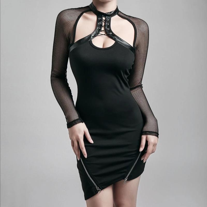 Photo of Women's Mesh Sleeve Zipper Mini Dress