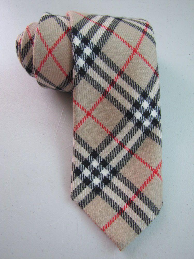 f3acbc1452f4 BURBERRY VINTAGE Skinny Wool Necktie Slim Tie Brown Tartan Plaid ENGLAND # Burberry #NeckTie #vintage #scotland #england #wool #style #menswear  #fashion ...
