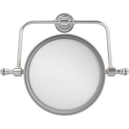Retro Dot Collection Wall-Mounted Swivel Make-Up Mirror, 8 inch Diameter with 2x Magnification