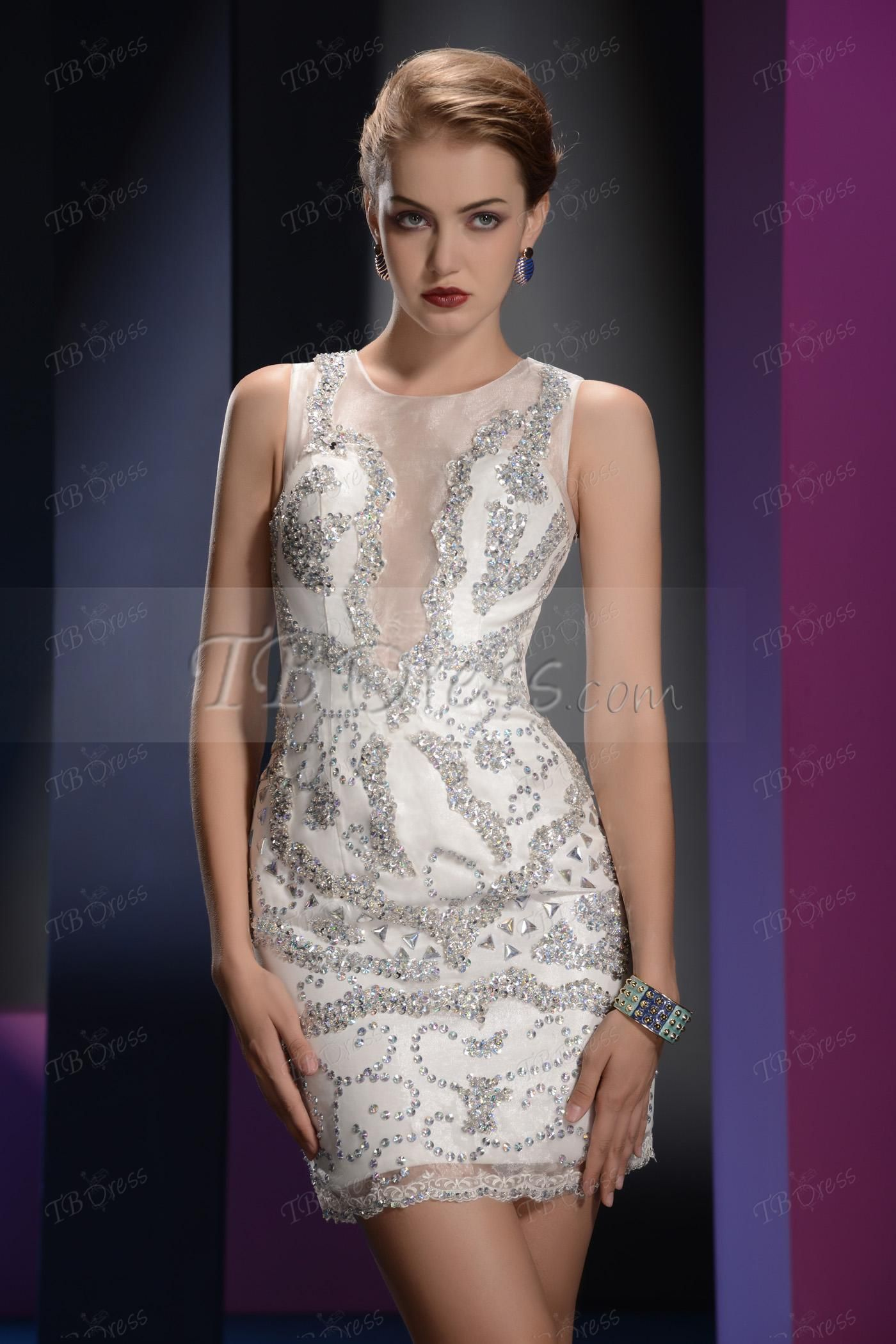 Mini sheathcolumn sequins scoop neck sleeveless cocktail dresses