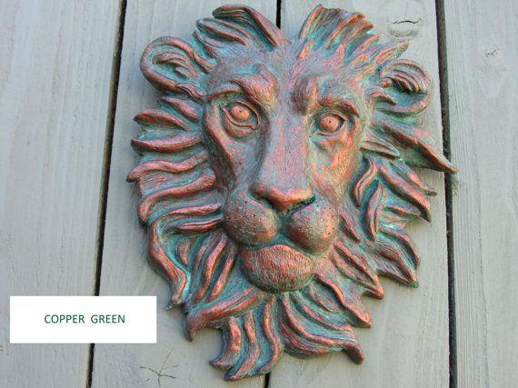Hand Made Copper Green Lion Head Wall Hanging Plaque Or Fountain Garden Ornament Green Copper Wall Plaques Garden Ornaments