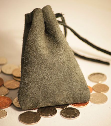 Medieval/Larp/SCA/Pagan/Re enactment Grey Leather DRAWSTRING MONEY ...