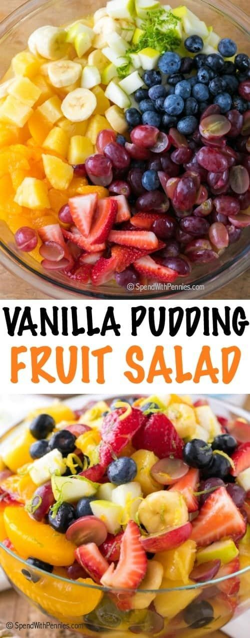 Vanilla Pudding Fruit Salad is a simple and sweet twist on a traditional fruit salad recipe.  This easy dessert has a beautiful rainbow of fruit in an easy vanilla sauce making it the perfect dessert or ice cream topping! #fruitsalad