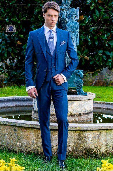 Traje de novio azul royal mixto lana mohair alpaca  de348a567af2