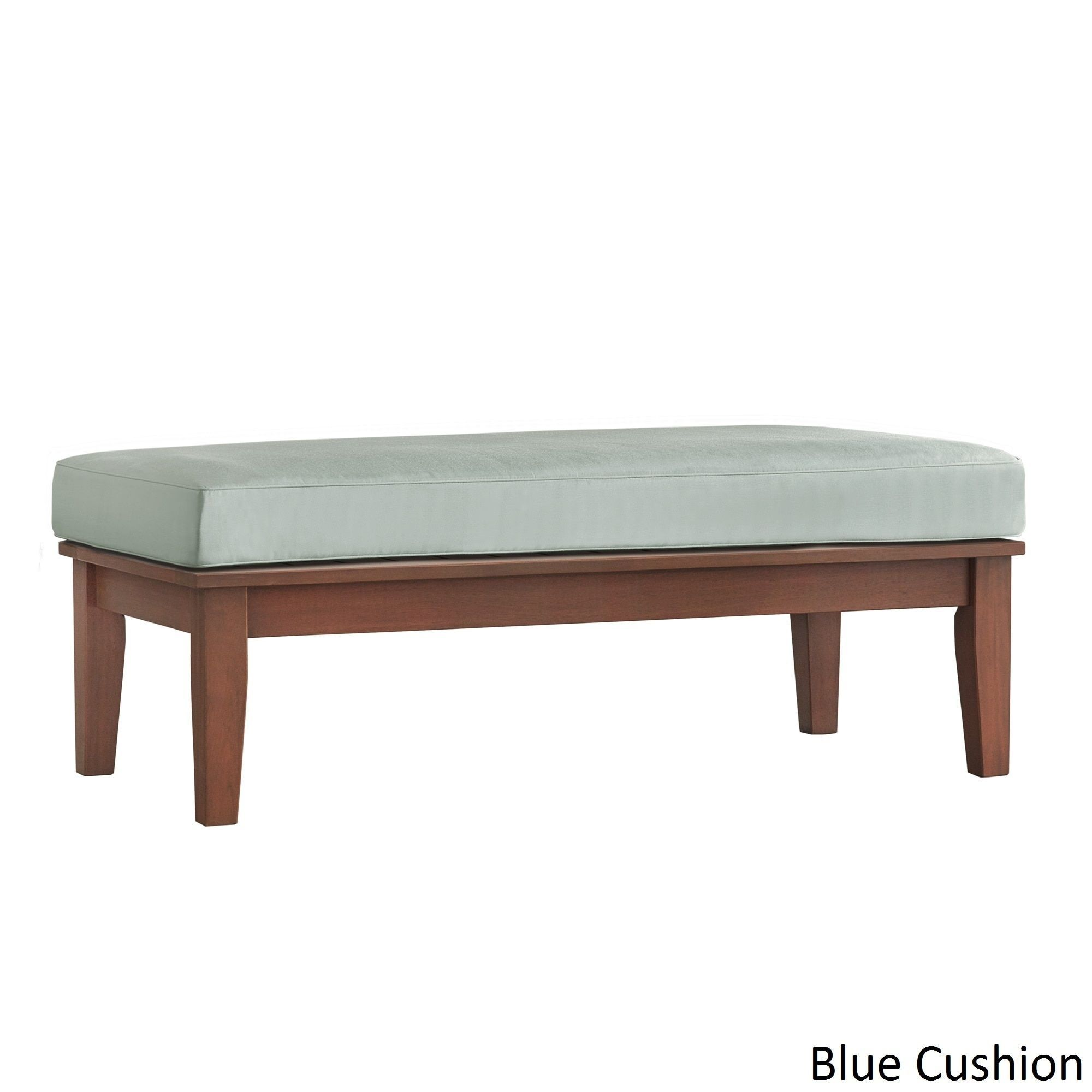 Yasawa Wood Brown Patio Cushioned Rectangular Coffee Table Ottoman iNSPIRE Q  Oasis (Blue cushion)