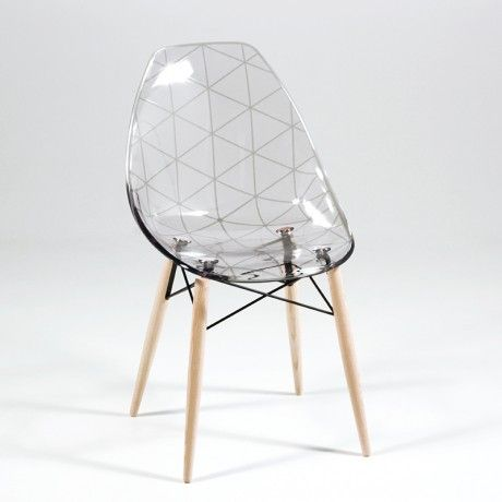 chaise design coque transparente et bois naturel prisma