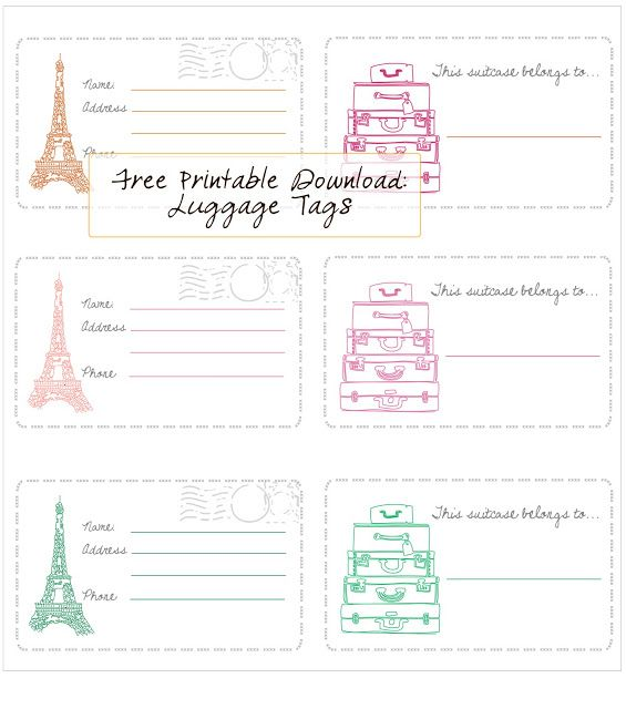 Free Printable  Luggage Tags  In Honor Of Design  Iheart