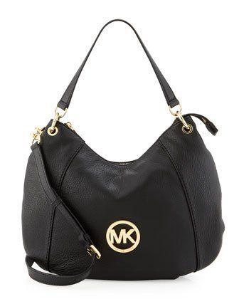 ea3ac4cb8fb4 Michael Kors Fulton Large Genuine Leather Convertible Shoulder Bag Black - # HandBags