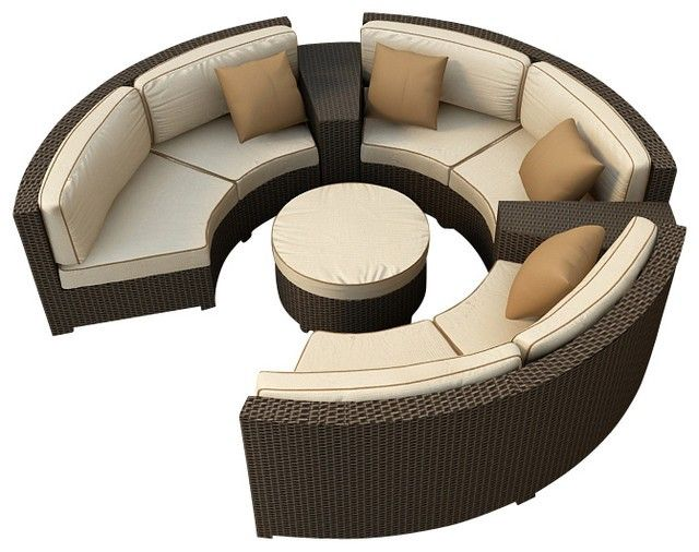 Hampton Radius 6 Piece Sectional Set, Chocolate Wicker And Wheat Cushions    Modern   Patio Furniture And Outdoor Furniture   PatioProductions