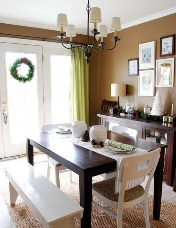 Neutral Dining Room With Christmas Decorating  Httpwww Mesmerizing Simple Dining Room Review