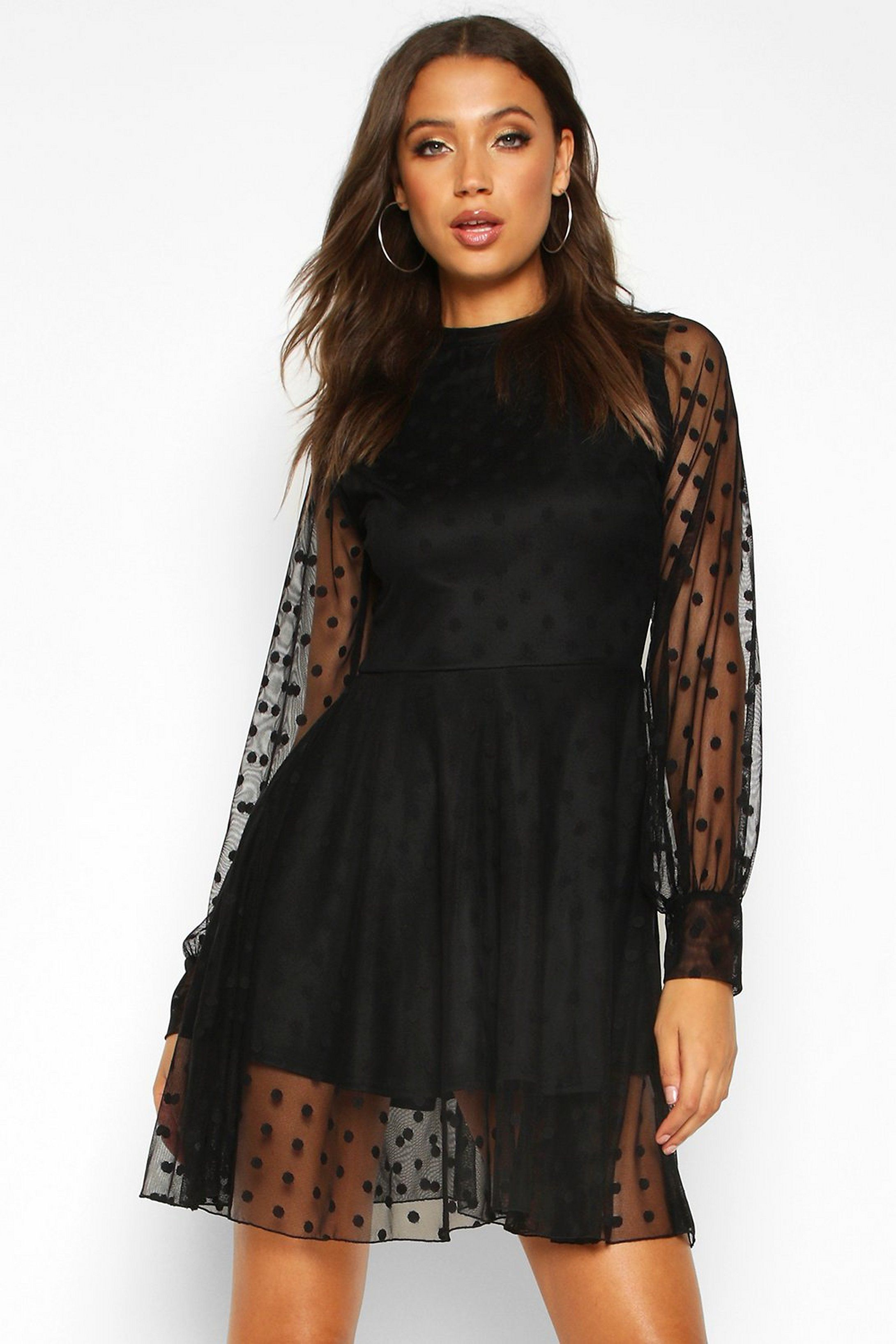 Tall Dobby Mesh Skater Dress Boohoo Mesh Skater Dress Dresses To Wear To A Wedding Stylish Summer Outfits [ 3272 x 2181 Pixel ]