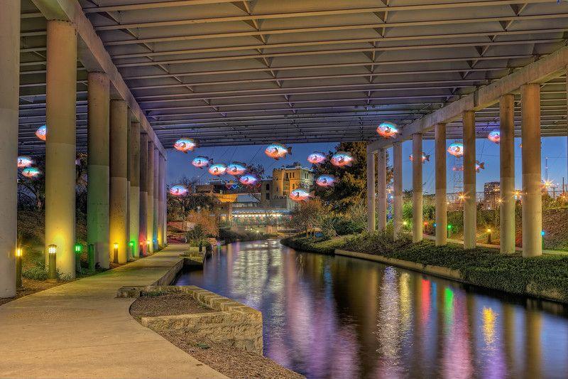 Art installation fish under the bridge near the pearl for Fishing near san antonio