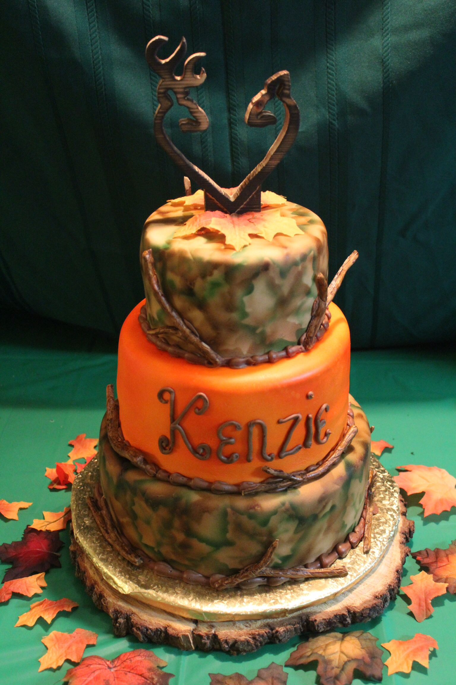 Camouflage birthday cake with custom made topper Cake