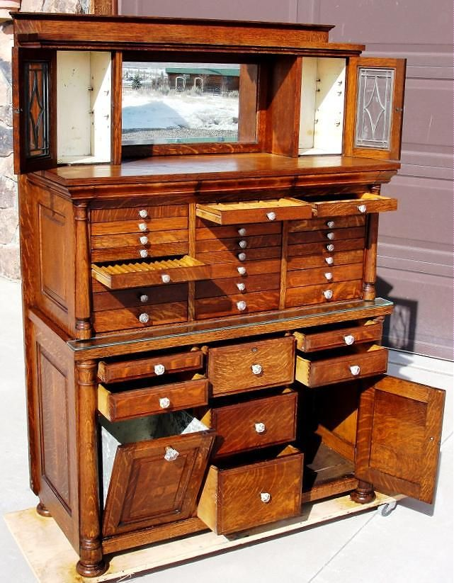 The bun feet of the cabinet have been replaced to match the original feet,  and are quarter sawn oak. Dimensions of this great early dental cabinet are; - Oak Dental Cabinet.. COOL! My Home Style Pinterest Dental