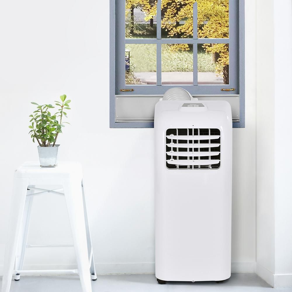 Costway 10000 Btu Portable Air Conditioner And Dehumidifier Function Remote In White With Window Kit Ep22783 The Home Depot In 2020 Portable Air Conditioner Home Heating Systems Air Conditioner
