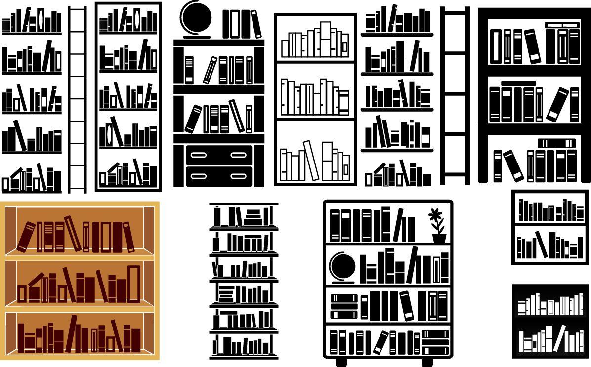 Bookshelves silhouette Download Vector Silhouette