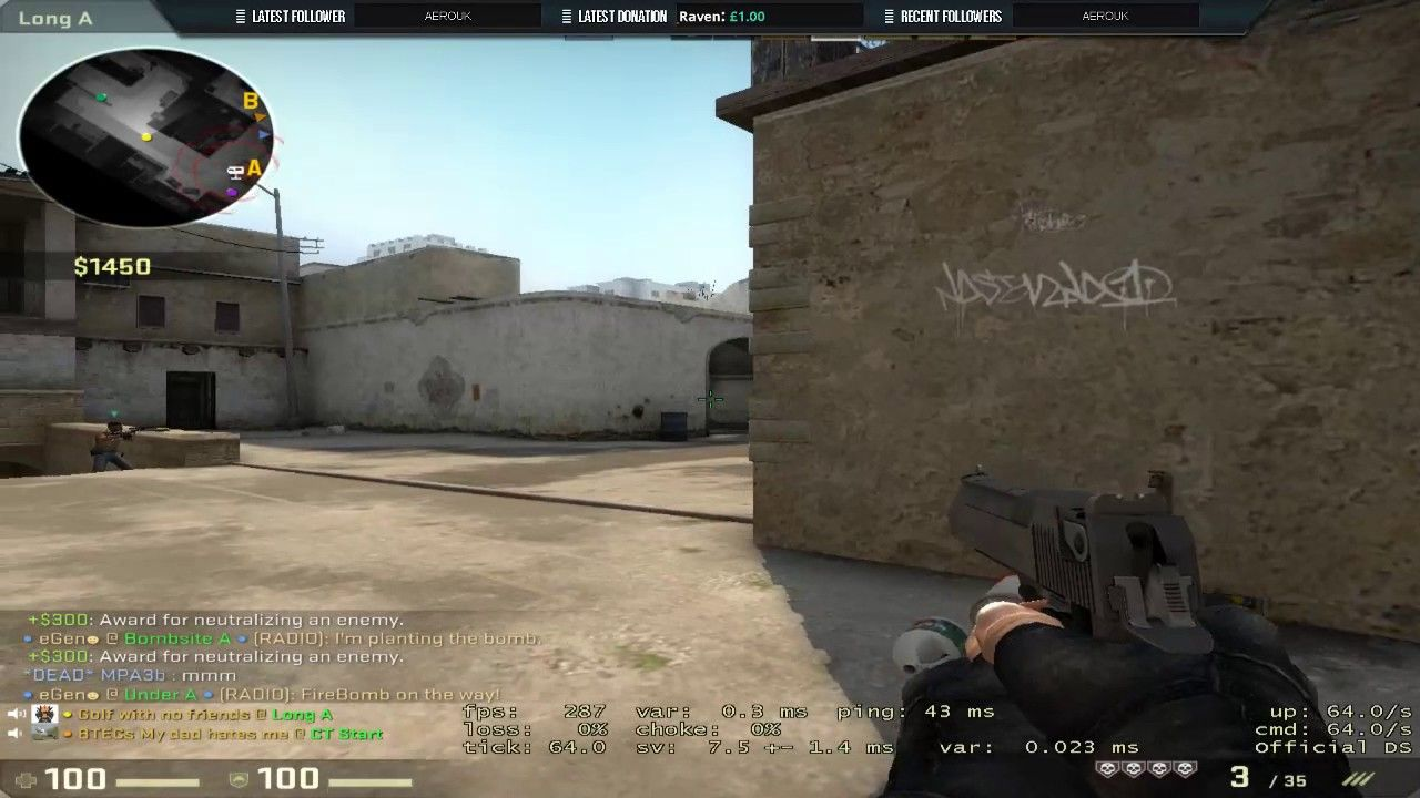 Insane 100% acc deagle ace #games #globaloffensive #CSGO #counterstrike #hltv #CS #steam #Valve #djswat #CS16