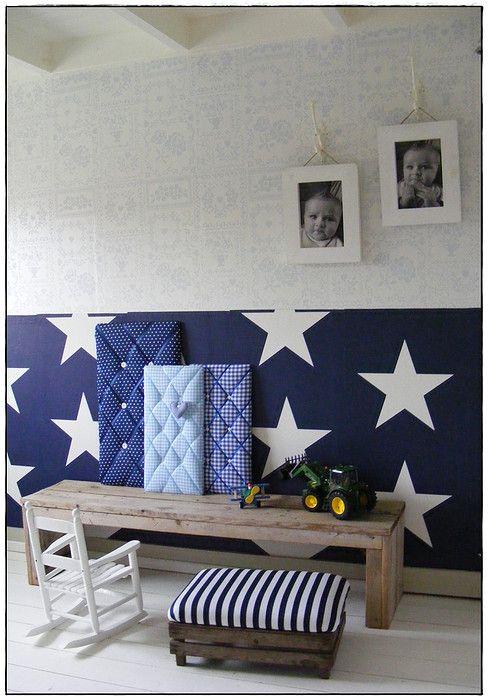 Sterrenbehang kamer koen boys room pinterest jongens slaapkamer en jongen - Blauwe en grijze jongens kamer ...