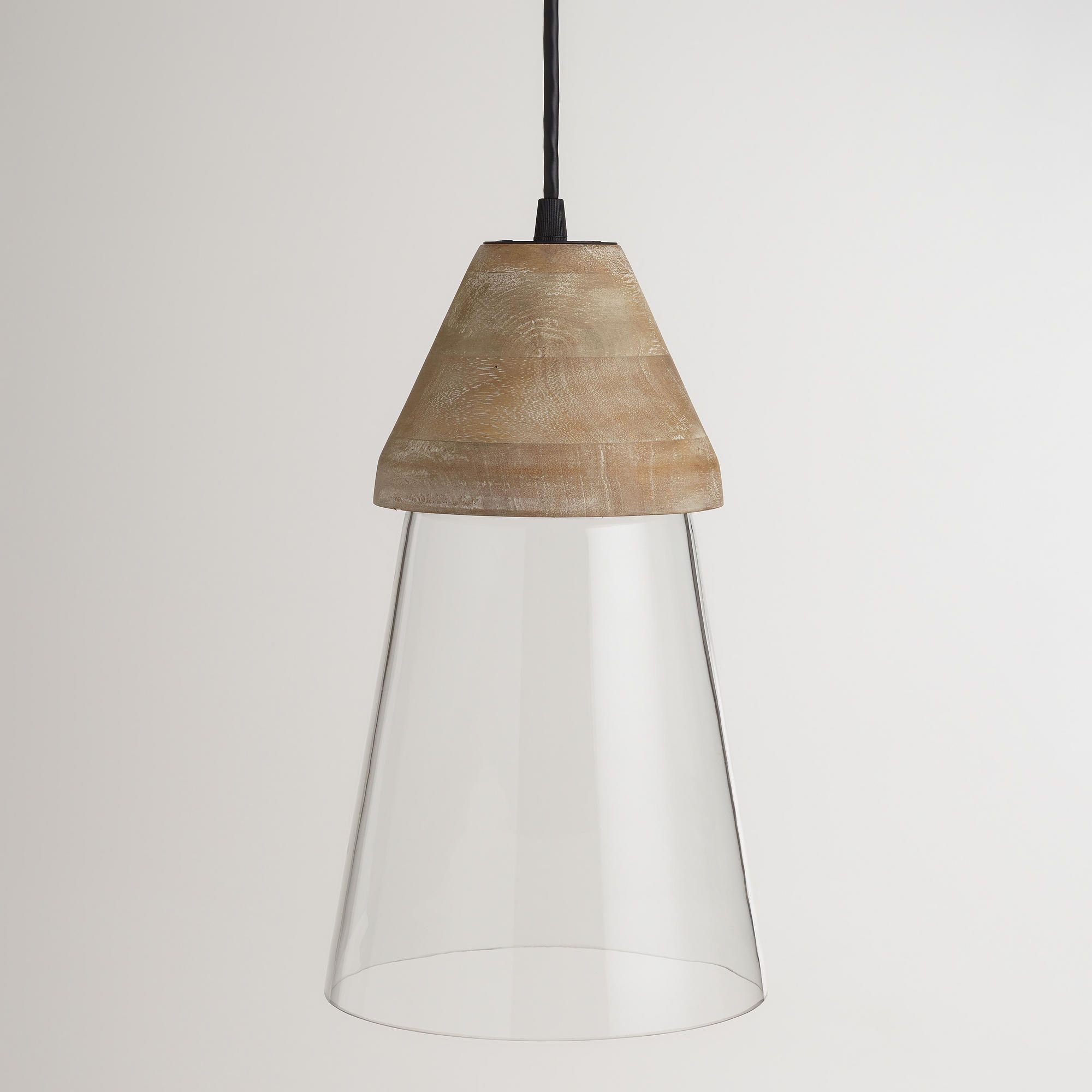 Wood Top Glass Hanging Pendant Lamp Licht Inspo