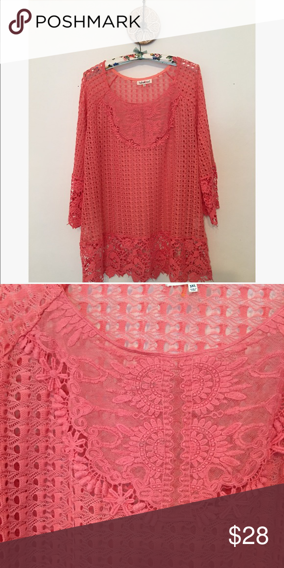 Coral Crochet Lace Tunic Beautiful Tunic. Longer past hips. Size is 3X but Fits 2X best. Sheer Lace in front. Indigo Soul Tops Tunics