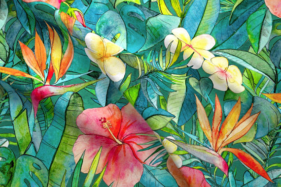 Tropical Flowers Fabric Clic Garden In Watercolors 2 Extra Large Print By Micklyn Fl