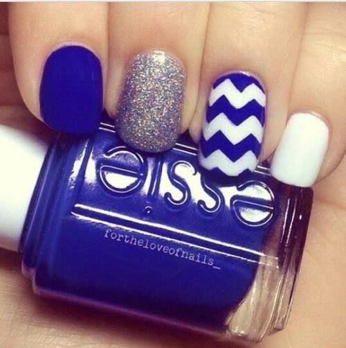 Azul Rey Mate Glitter Plata Zigzag Blanco Y Azul Barniz