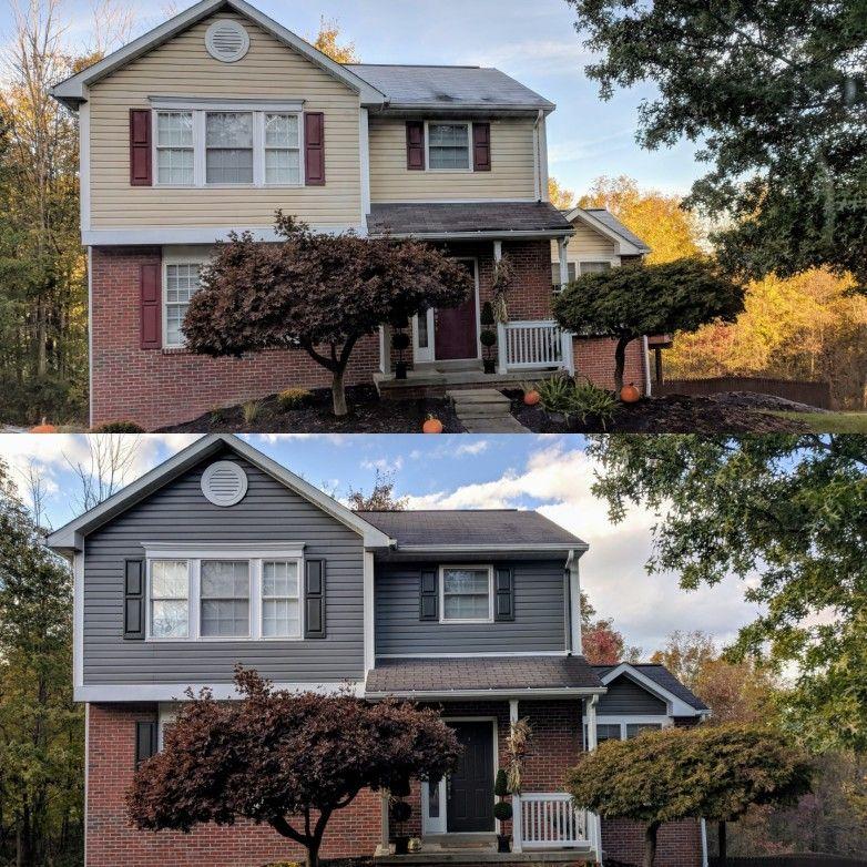 1990s Home Exterior Vinyl Paint Update Sherwin Williams Gauntlet Grey Siding And Urbane Bronze Shutters Doo House Paint Exterior Updating House House Exterior