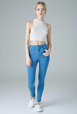 89650f37f25 Jeans Skinny Tiro Alto Lavado Medio
