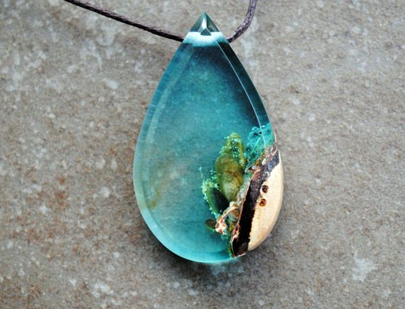 Resin wood necklace sea green drop pendant moss necklace resin resin wood necklace sea green drop pendant moss necklace aloadofball Choice Image