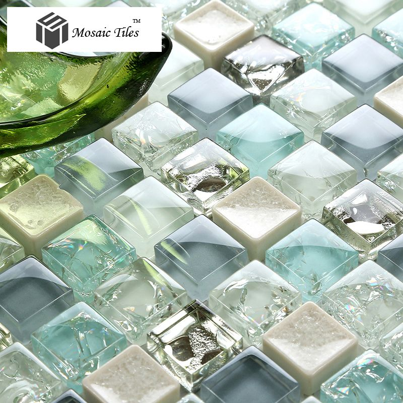 Tst Crystal Glass Tile Blue Aqua Mosaic Porcelain Chips Bathroom Background Wall Decorative Remodeling Art Aqua Glass Tiles Sea Glass Tile Blue Glass Tile
