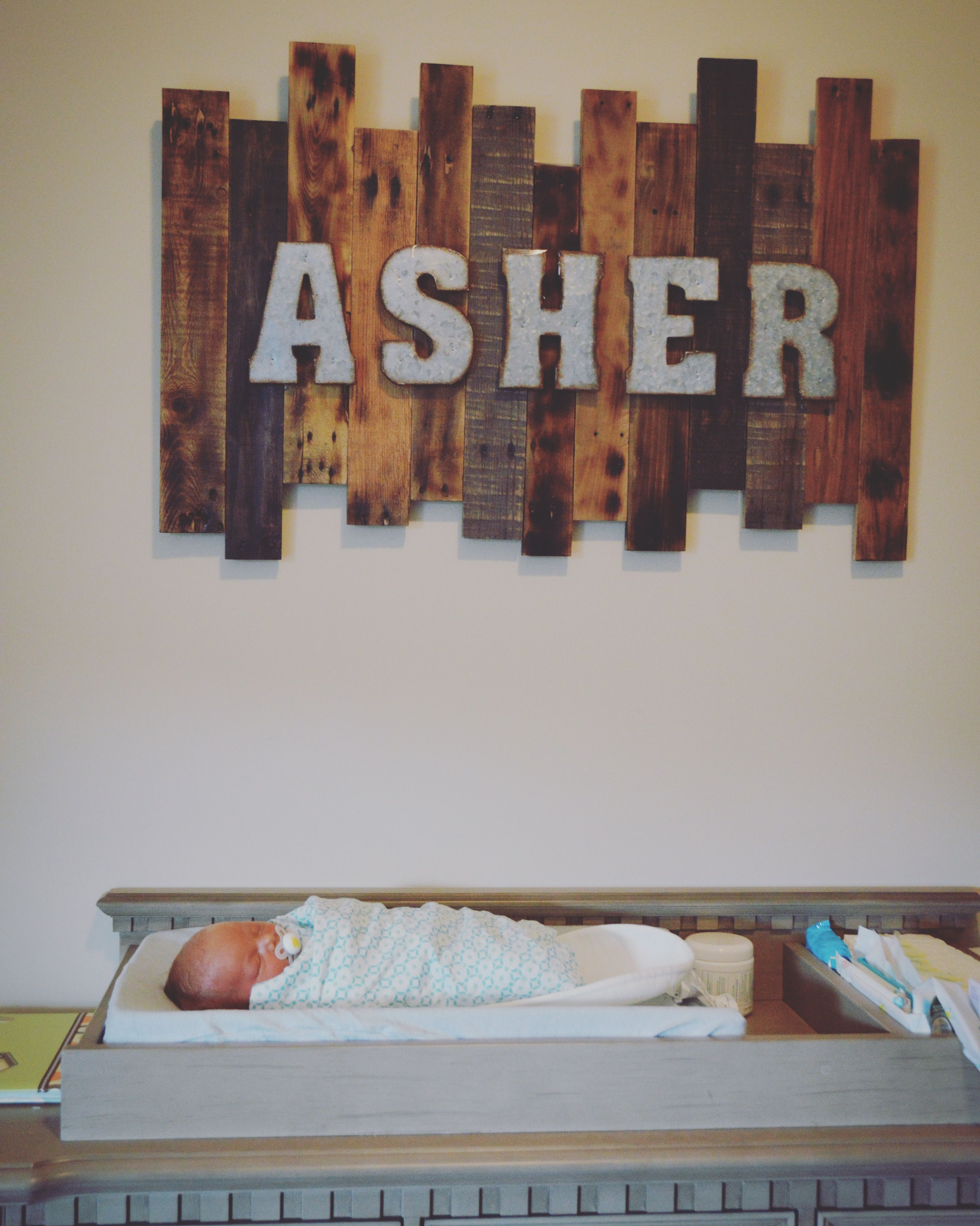Pallet Nursery Baby Name Sign With