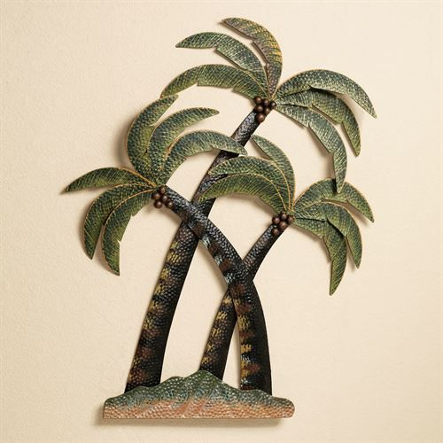 Exceptionnel Coco Palm Tree Metal Wall Sculpture