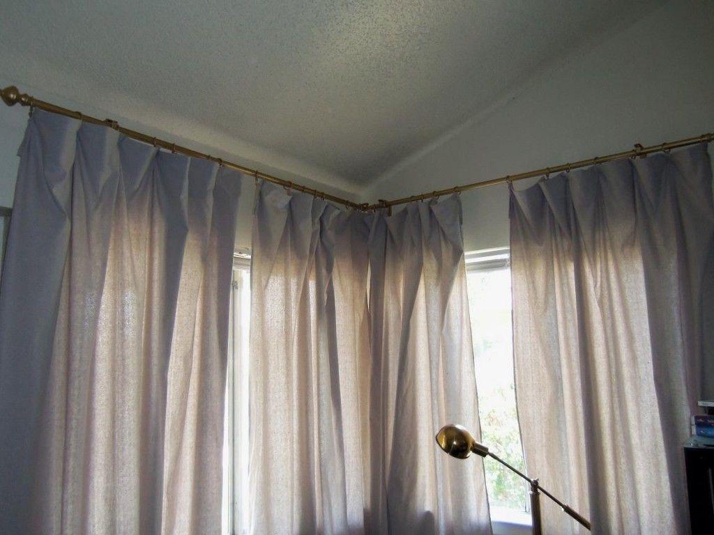 Dramatic Corner Windows Bend For Home Interior Design Curtain Rod