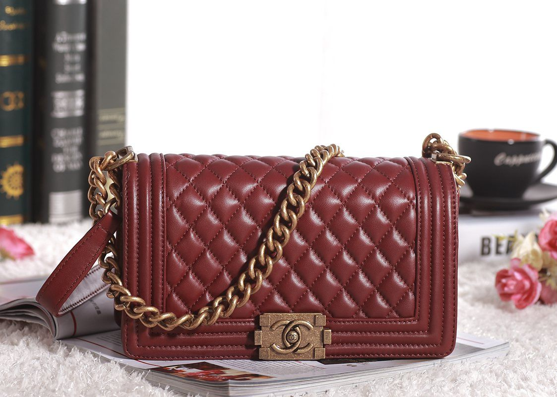 11a08c183eddd7 Burgundy Chanel Boy Bag W/ Gold Hardware | ooou..... boy!!! | Bags ...