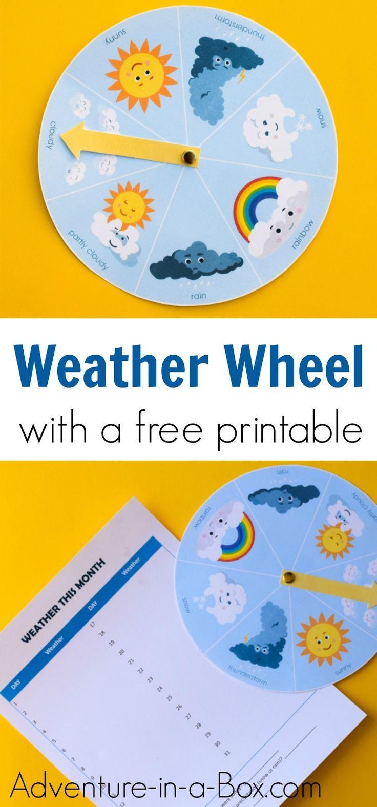 Free Printable Weather Wheel for Kids Weather activities
