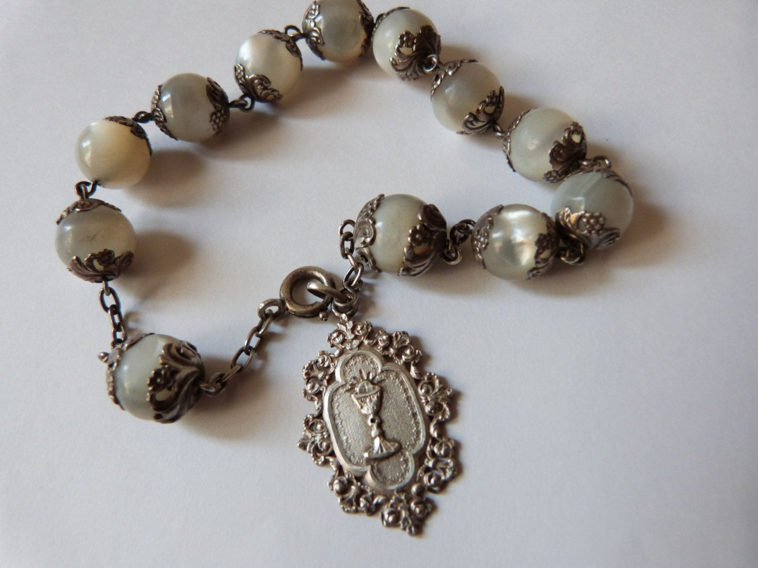 Antique French religious pearl beaded bracelet w big mother of pearl beads w silver miraculous medal w chalice, first Holy communion gift by MyFrenchAntiqueShop on Etsy